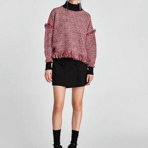 Zara Tweed Fringe Sweater Red Black Mock Neck, M